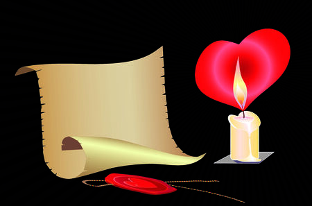 burning paper: Burning candle, red heart, ancient roll of a paper.