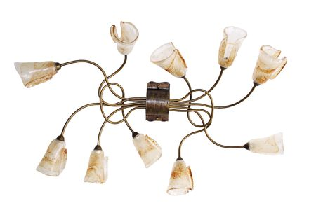 Metallic chandelier, brown color, with ten lights. An isolated object. White background. Stock Photo - 4466657