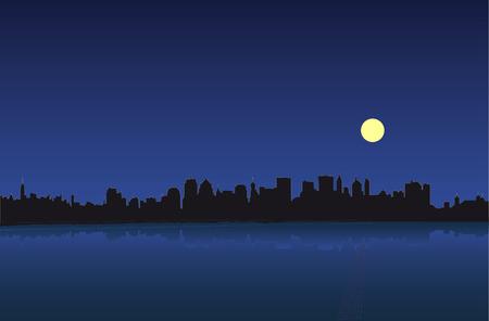 reverberation: Night of the Manhattan. Vector illustration.