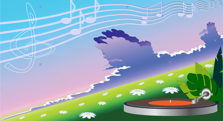 Player Turntables performs classical music. Vector illustration Vector