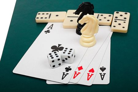 Chess, cards, dice, dominoes - the main board games. photo