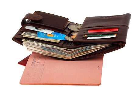 Customs. Passport with a stamp of entry and an open wallet with a credit card and money photo