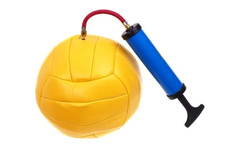 dint: Pumping a yellow ball pump. White background. Stock Photo