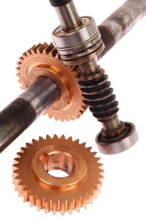 Differential pair of gears on a white background photo