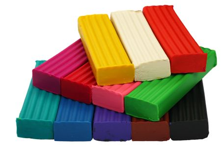 modelling clay: A set of twelve colors of Modelling clay. Modelling and design for children.