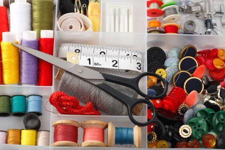 Accesorios para coser necesaria para adaptar  Foto de archivo