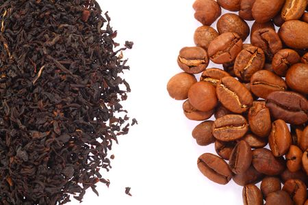 Coffee Bean and Black Tea close up. A white background. Soft shadow photo