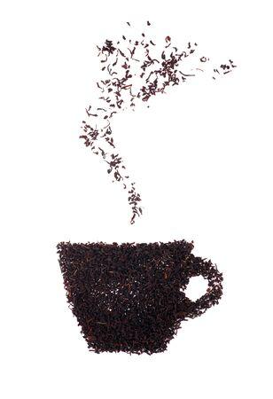 Deja la imagen de una taza de t� caliente con t�. Fondo blanco. Sombra suave