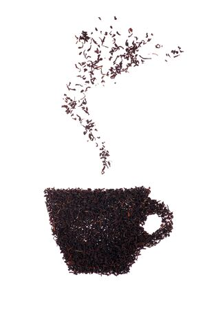 Picture a cup of hot tea with tea leaves. White background. Soft shadow