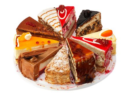 pastry: Portion cake different performance. White background. Stock Photo