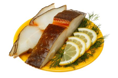 halibut: Halibut fish with lemon and dill on a yellow plate. Isolated on white background