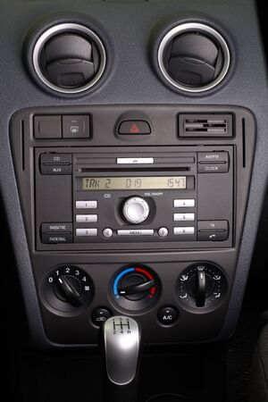 Car panel with stereo CD FM radio and control instruments