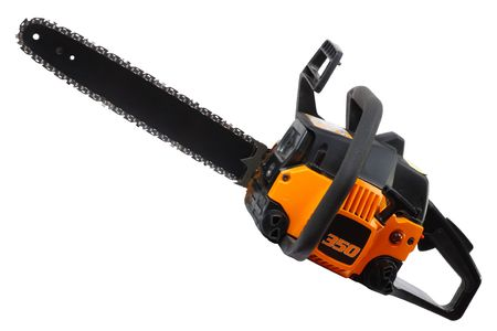 Yellow Chainsaw isolated on white background. Stock Photo