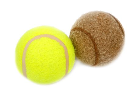 New and old tennis balls on a white background Stock Photo - 7291048