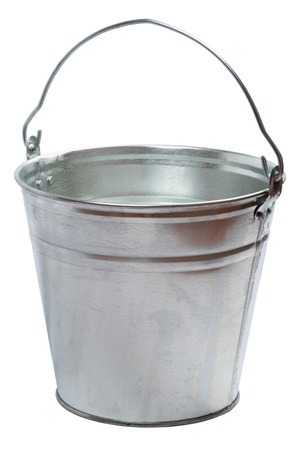 Metallic bucket isolated on a white background Stock Photo