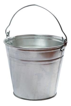 Metallic bucket isolated on a white background Stock Photo