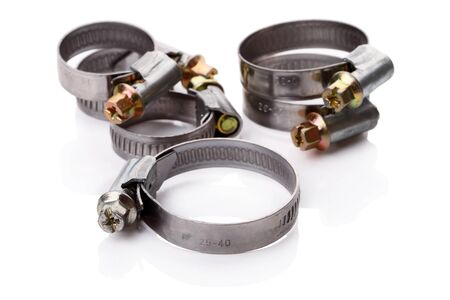 Hose Clamps of various sizes isolated on white background Stock Photo - 9866238