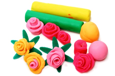 Flowers from modelling clay. Modelling and design for children.