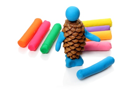 modelling clay: Creativity with modelling clay. Modelling and design for children. Stock Photo