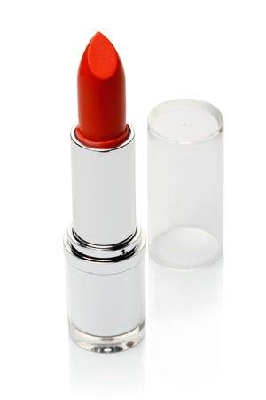 Red lipstick isolated on a white background. Beauty Equipment. photo