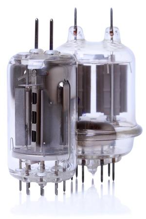 Two powerful radio amplifying tubes (GU-19 and GU-29). Isolated on white background photo
