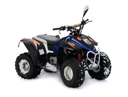 Motos quads aisladas sobre fondo blanco Foto de archivo