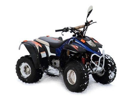 Quad bikes isolated on a white background Stock Photo