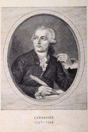 gravure: Ritratto di un chimico francese Antoine Laurent Lavoisier (1743 - 1794) sulla vecchia carta.
