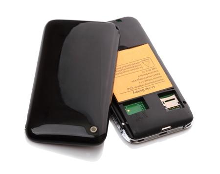 흰색 배경에 고립 된 2 SIM 카드에 대 한 휴대 전화