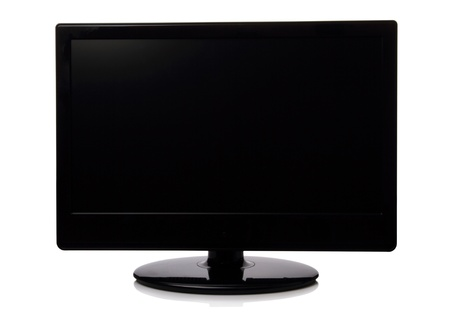 Television with black screen isolated on white background photo