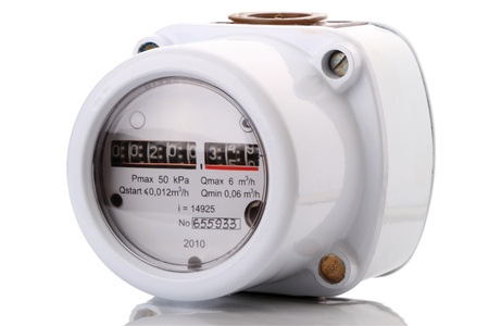 Indoor gas meter used for measuring natural gas consumption in buildings  houses. photo