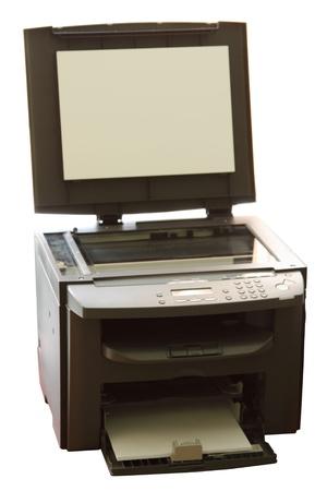 copier: Multifunctionele business office machine (printer, copier en scanner). Geà ¯ soleerd op witte achtergrond