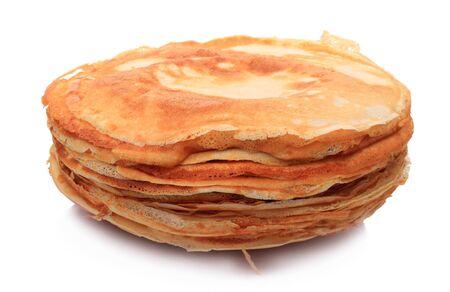 Stack of pancakes isolated on white background photo