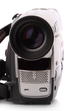 Vintage Video Camera isolated on a white background photo