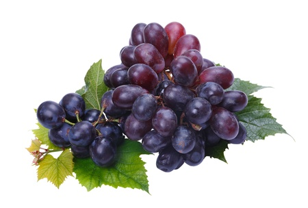 A bunch of dark grapes on a white background