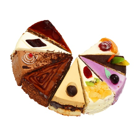 Nueve diferente pedazos de torta. Aisladas sobre fondo blanco.
