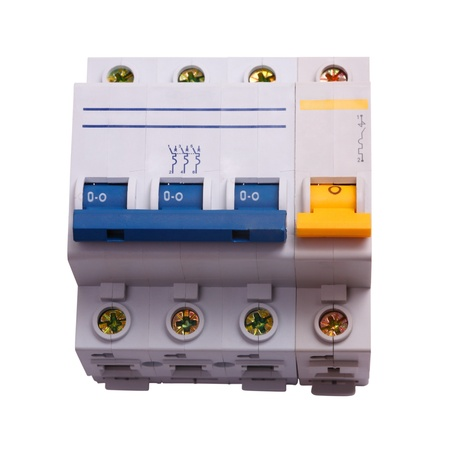 three phase: Circuit Breaker three phase on a white background. Circuit breaker used on items such as a residential iron, hot water heater, a kitchen oven,  or an electric clothes dryer. The isolated object