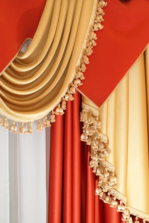 Part of luxurious window coverings of a home interior photo