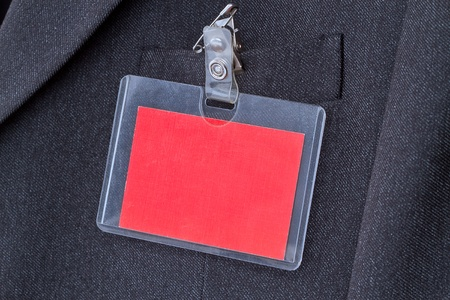 Blank red ID card with copy space on the men photo
