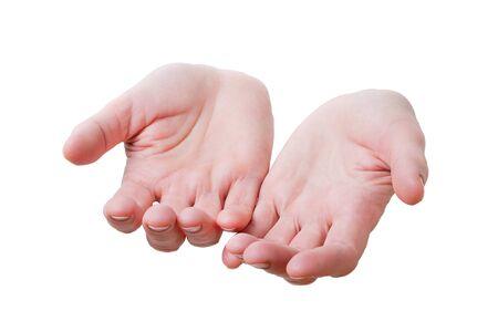 Human palms isolated on white background   photo