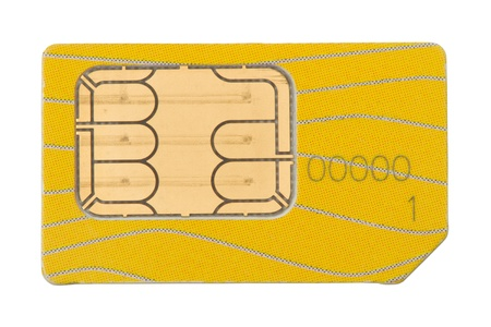 Old Sim-card mobile phone. Isolated on white background photo