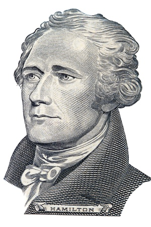 Portrait of Alexander Hamilton in front of the ten dollar bill Editorial