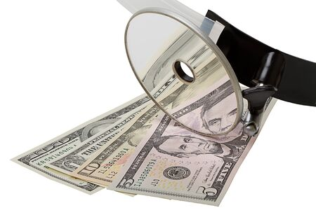 Head mirror on top of US paper currency
