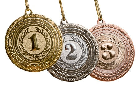 Set of medals. Isolated on white background Stock Photo