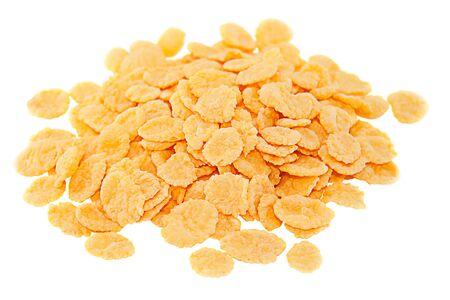 Crispy cornflakes isolated on white background