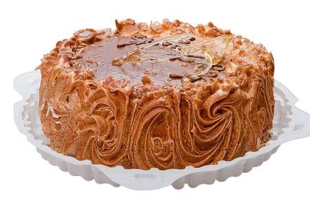 Cake with whipped cream isolated on white background. photo