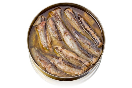 sprats: Tin can with sprats isolated on white background Stock Photo