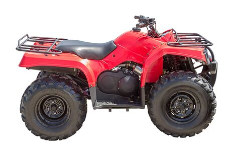 Red All Terrain Vehicle isolated on white background. Inscription on wheels - tire size photo