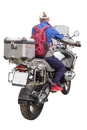 saddlebag: A man on a motorcycle with a bag. Rear view. Isolated on white background. Shot outside in the natural light.