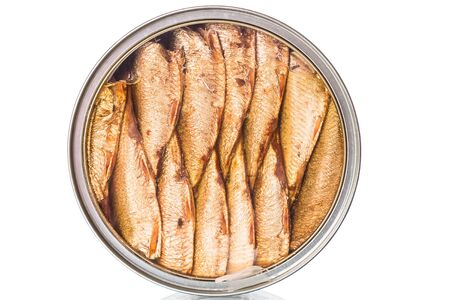 Sprats in a tin can  with a transparent cover isolated on white background photo